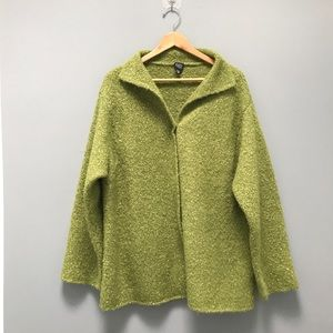 Eileen Fisher Speckled Alpaca Wool Silk Jacket
